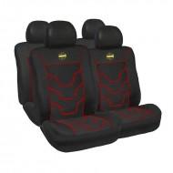 Huse scaune auto Momo, negru cu ornamente rosii, 11 Bucati