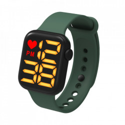 Ceas Sport Led Unisex, Quartz, afisaj Digital, Verde, LED102
