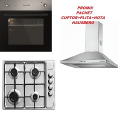 Pachet promotional Cuptor + Plita + Hota Hausberg HB-8043, HB-555, HB-1260