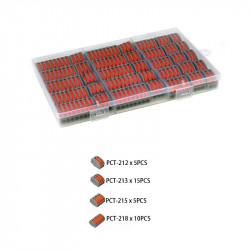 Set 35 bucati Conectori pentru conductori electrici, E-LOCKS, tip WAGO, 2, 3, 5 si 8 pini, plastic