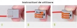 Set 10 bucati Conectori pentru conductori electrici, E-LOCKS, tip WAGO, 4 pini, plastic