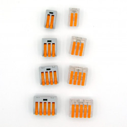 Set 46 bucati Conectori pentru conductori electrici, E-LOCKS, tip WAGO, 2, 3, 4 si 5 pini, plastic