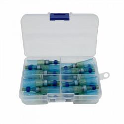Set 20 morsete termocontractibile, cu spirala de cupru si lipire cu cositor, E-LOCKS, albastre, diametru 7,0 mm