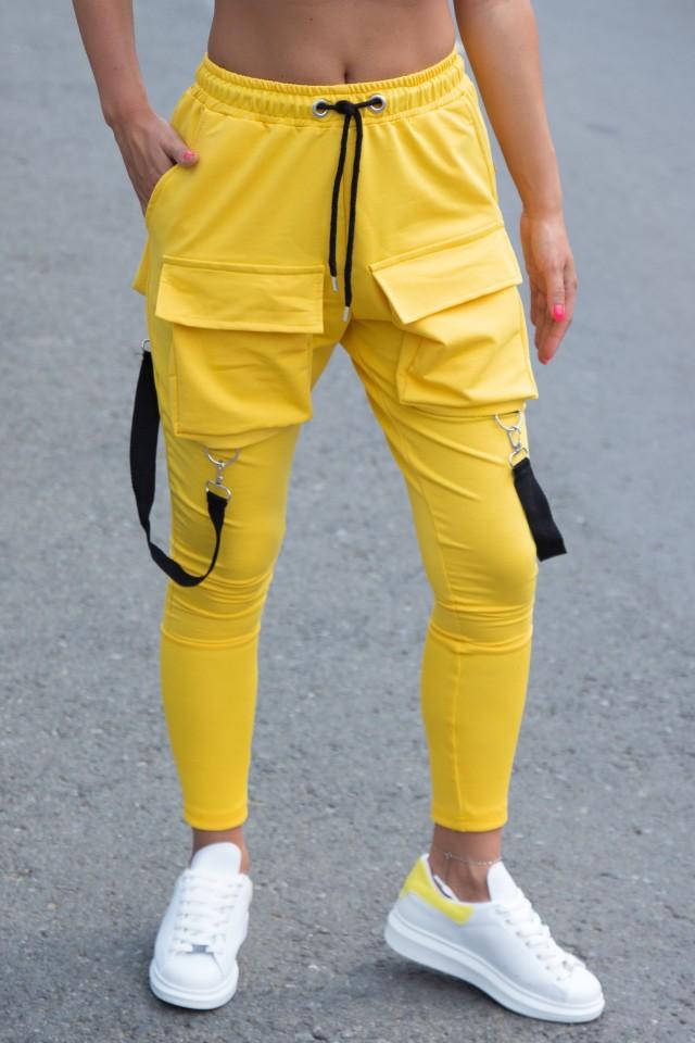 Pantaloni cu Bretele Dama Galben EP3