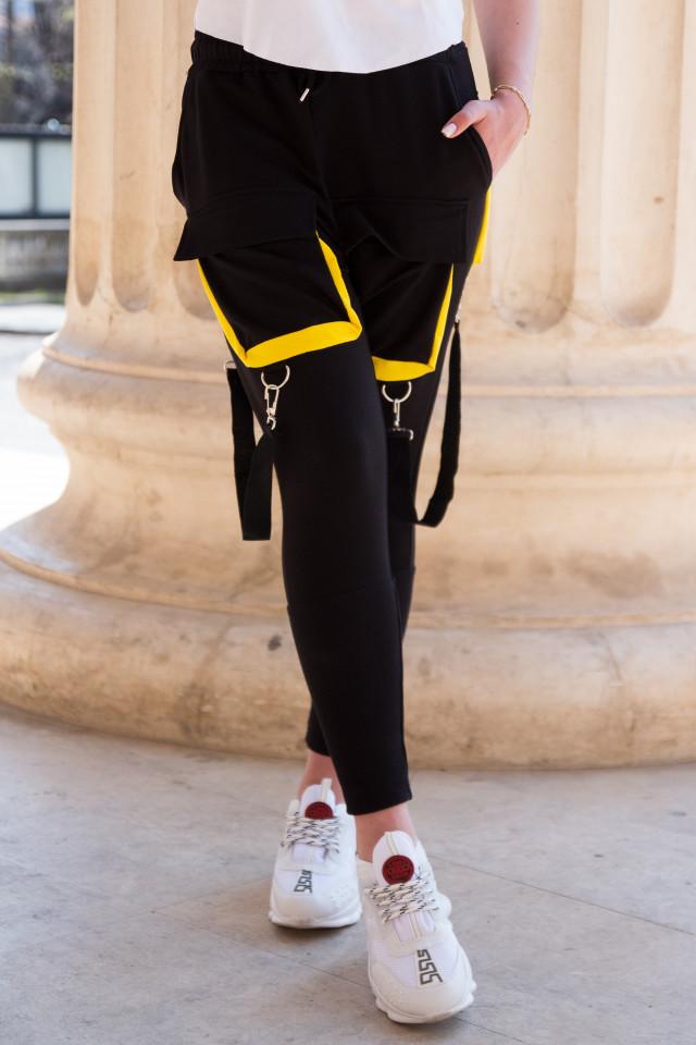 Pantaloni cu Bretele Dama Negru-Galben EP9