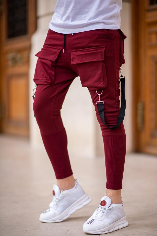 Pantaloni Exclusive cu semi-tur Visiniu EP5