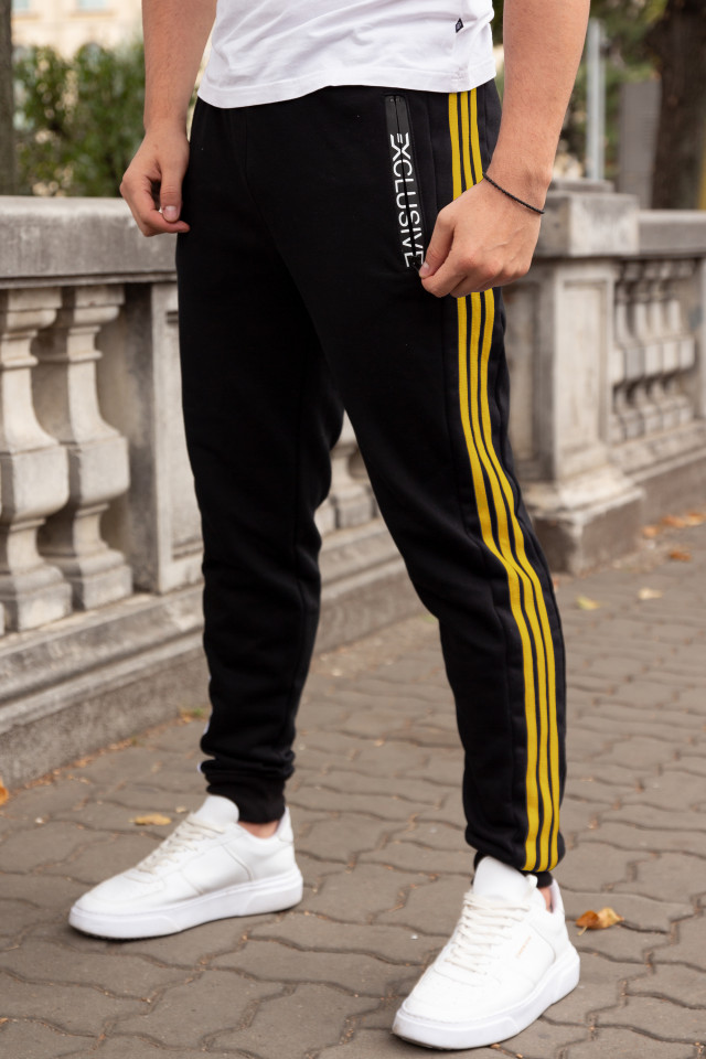 Pantaloni Grosi Bumbac Exclusive Negru-Galben