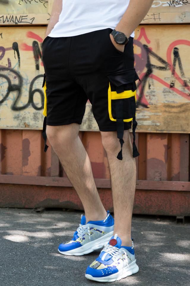 Pantaloni Scurti EX Rebel Negru-Galben