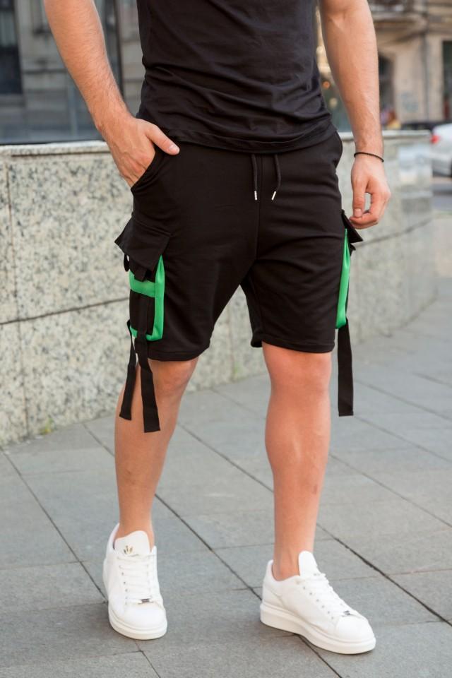 Pantaloni Scurti EX Rebel Negru-Verde