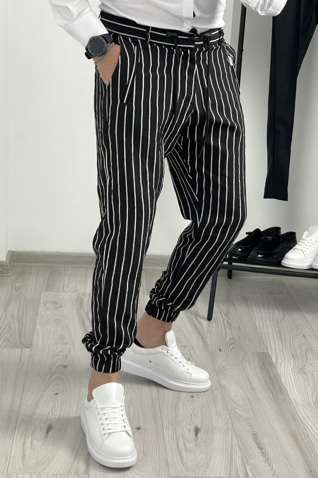 Pantaloni Smart Casual Breeze Negru-Alb