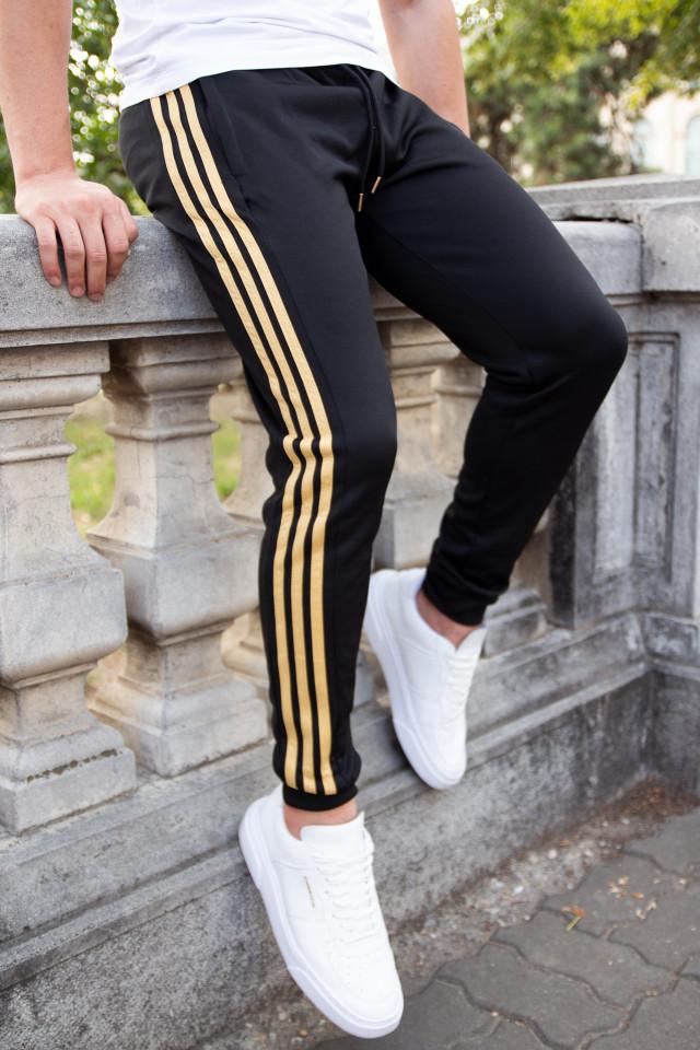 Pantaloni Stripes Negru-Auriu