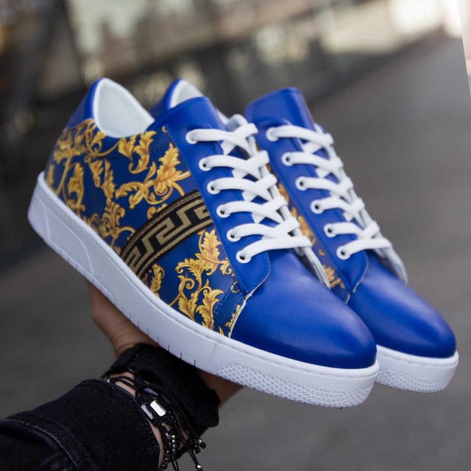 Adidasi Low Albastru-Auriu