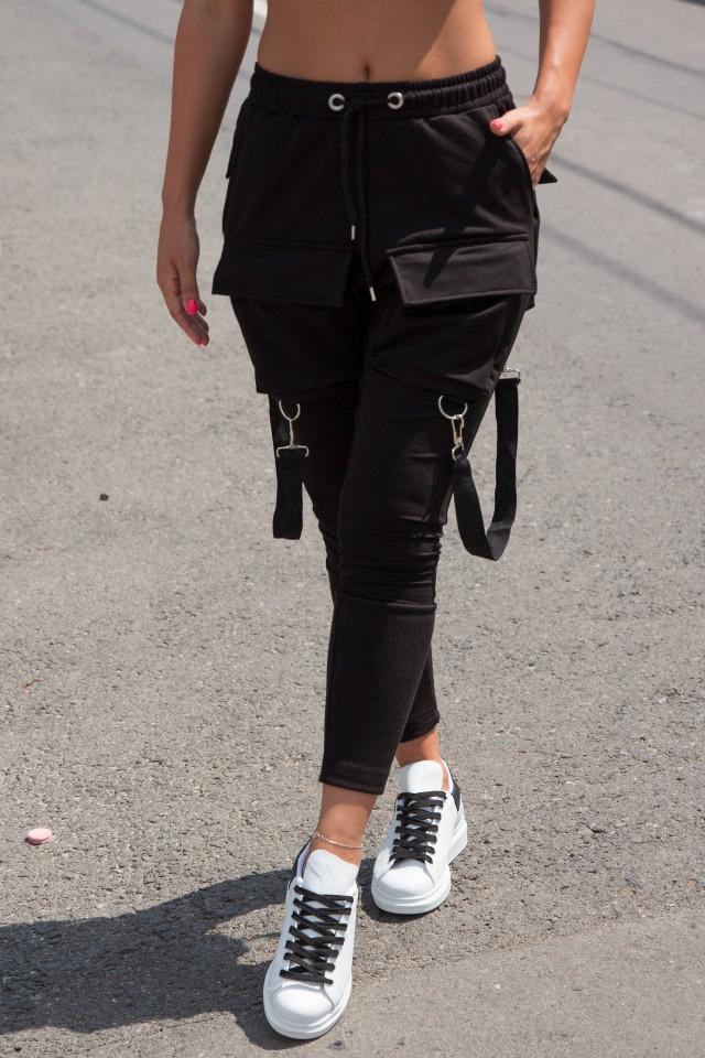 Pantaloni cu Bretele Dama Negru EP1