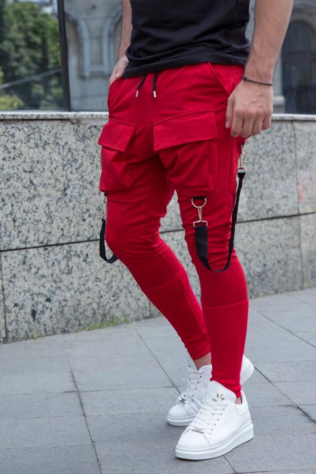 Pantaloni Exclusive cu semi-tur Rosu EP4
