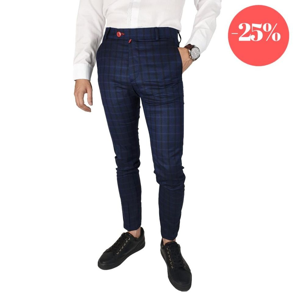 Pantaloni Smart-Casual Slim Bluemarin&Negru