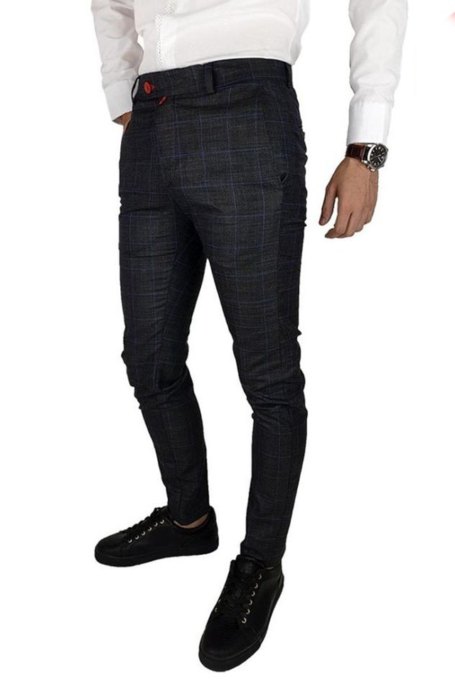 Pantaloni Smart-Casual Slim Gri Inchis&Albastru