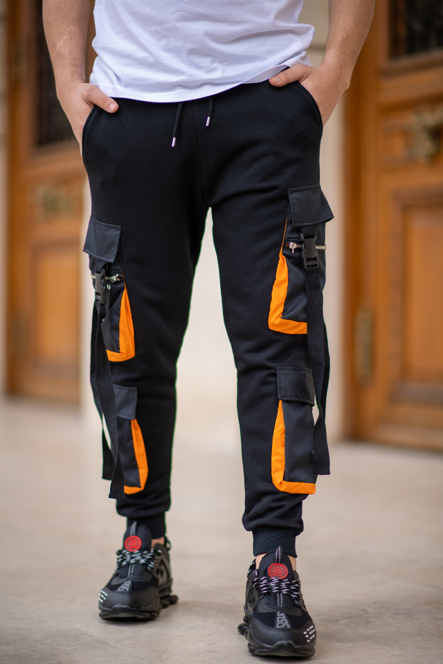 Pantaloni EX Pocket Negru Orange