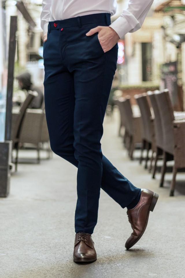 Pantaloni Eleganti Mansfield Bleumarin Inchis
