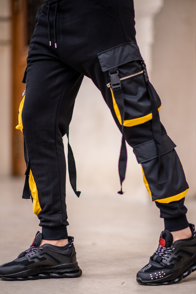 Pantaloni EX Pocket Negru Galben