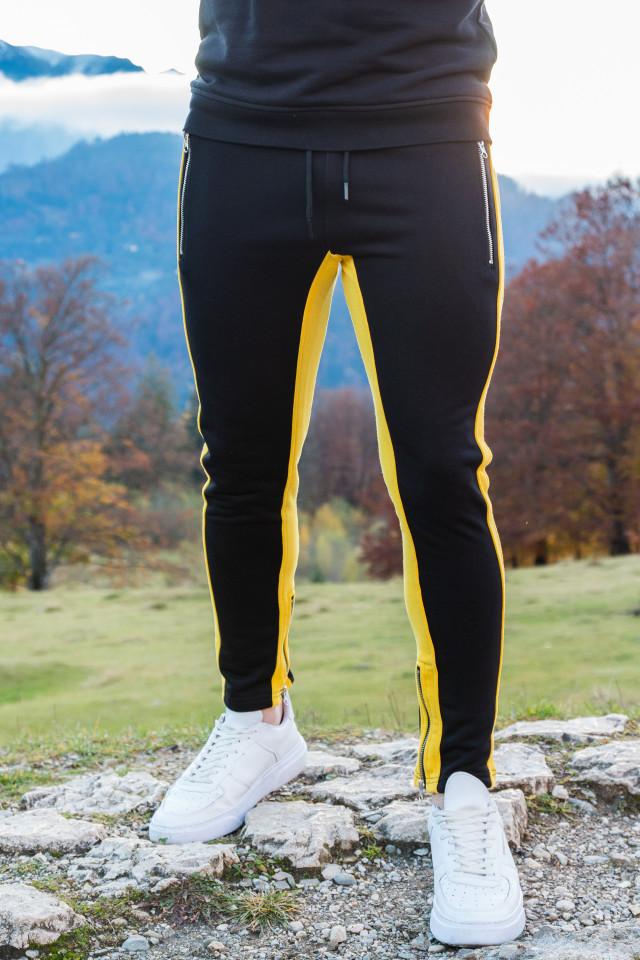 Pantaloni Zip Negru Galben