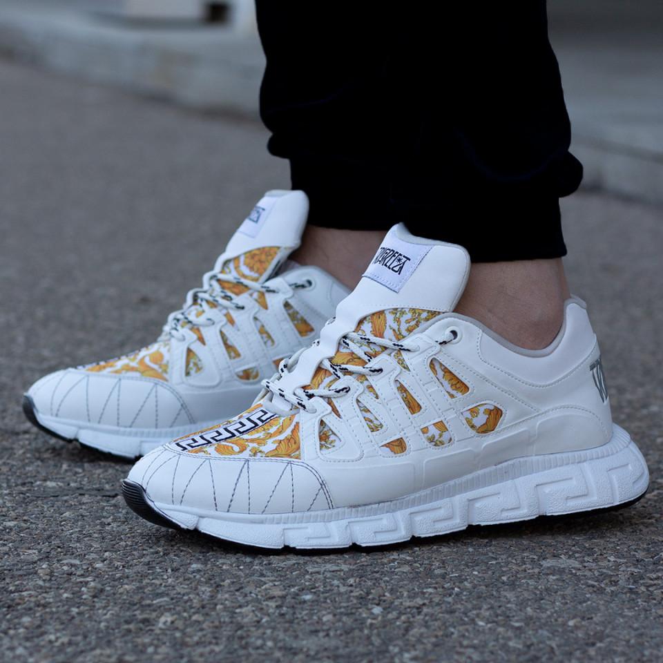 Sneakers Greka Alb-Auriu