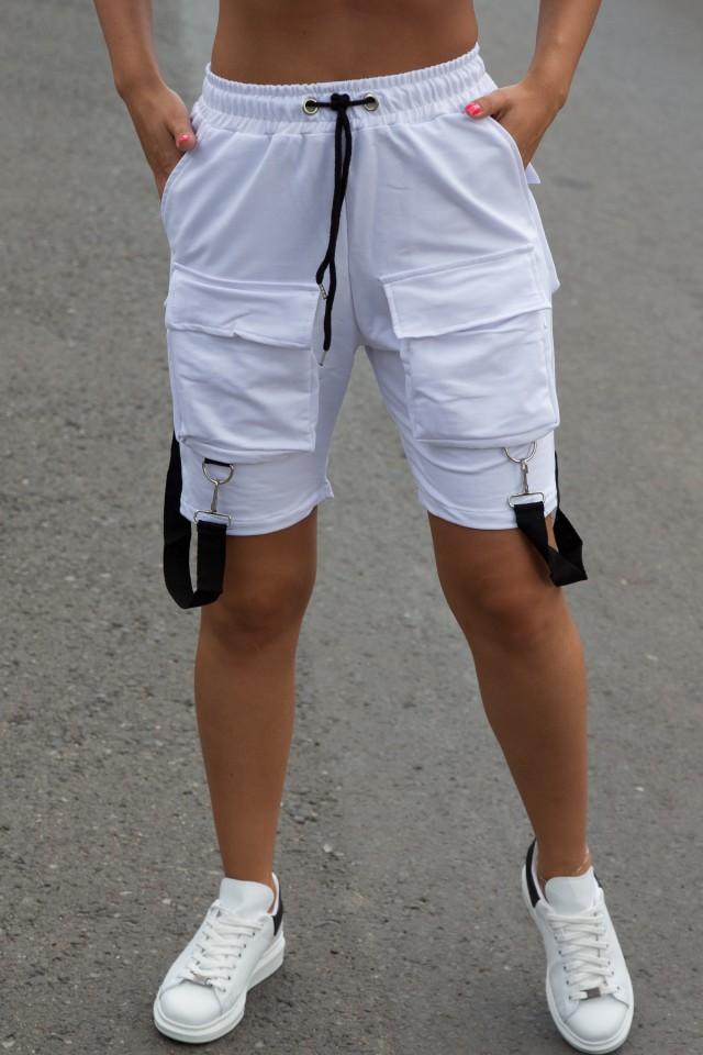 Pantaloni scurti EX Bretele Alb