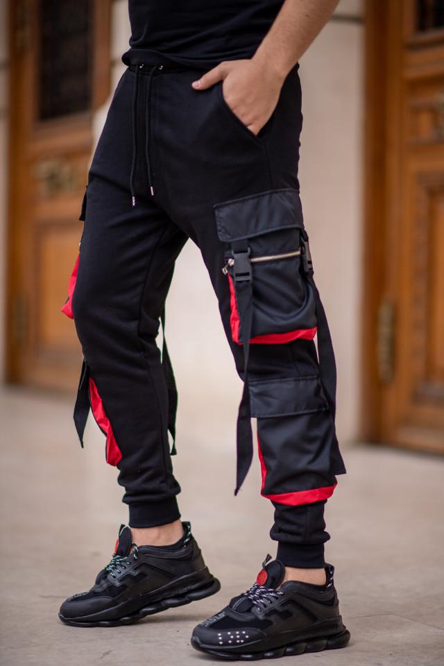 Pantaloni EX Pocket Negru Rosu