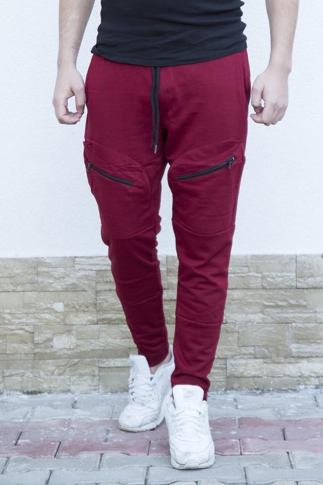 Pantaloni sport 2-ZIp Bordo