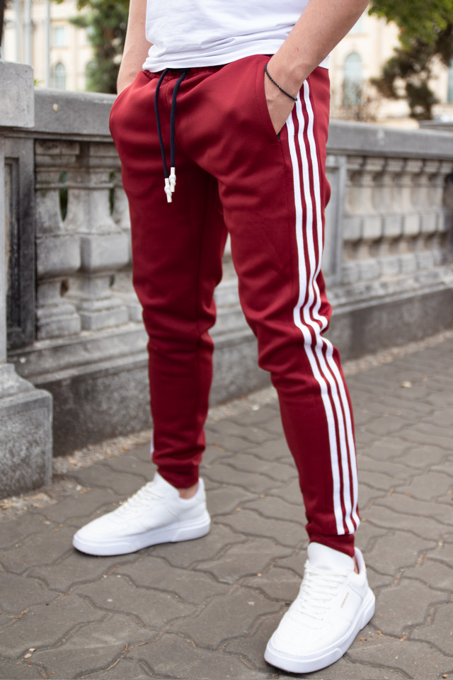 Pantaloni Stripes Bordo-Alb