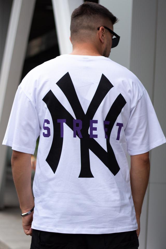 Tricou Oversized NY Street Alb