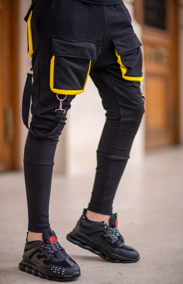 Pantaloni Exclusive cu semi-tur Negru-Galben EP9