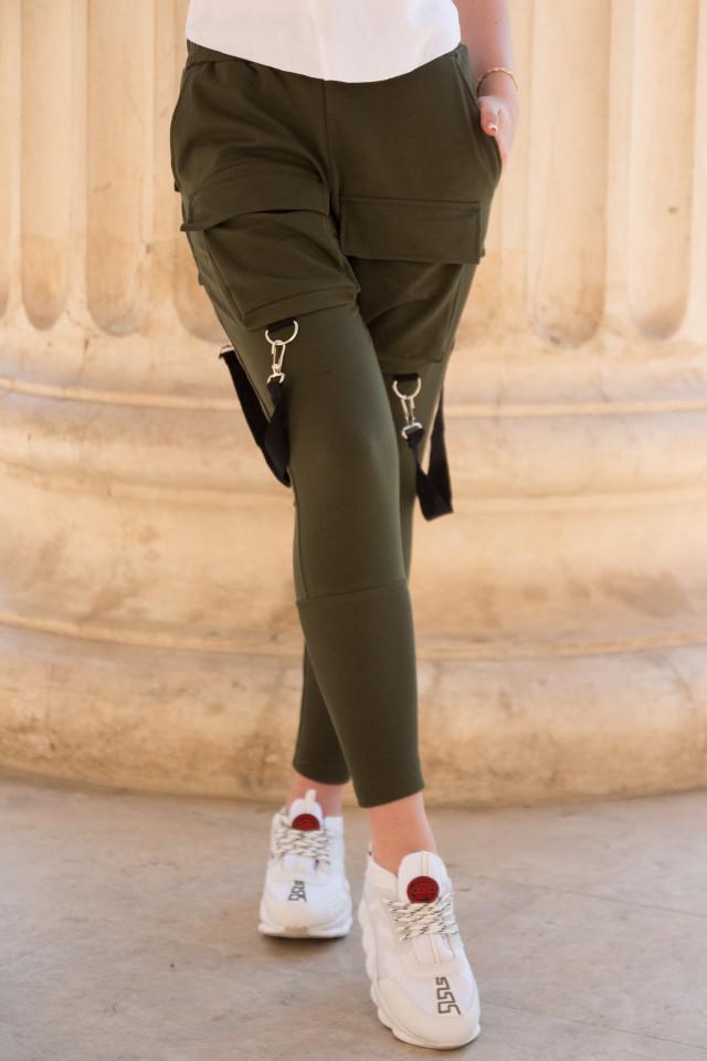 Pantaloni cu Bretele Dama Kaki EP7