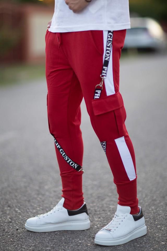 Pantaloni PG Rosu-Alb