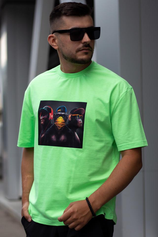 Tricou Oversized 3 Monkey Verde