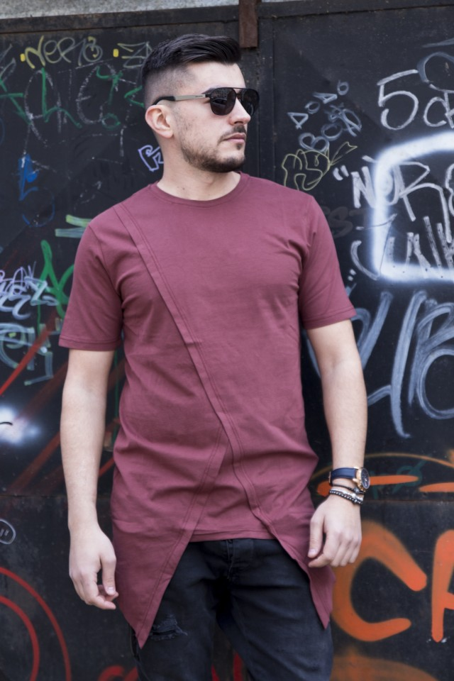 Tricou Premium Long Y Bordo