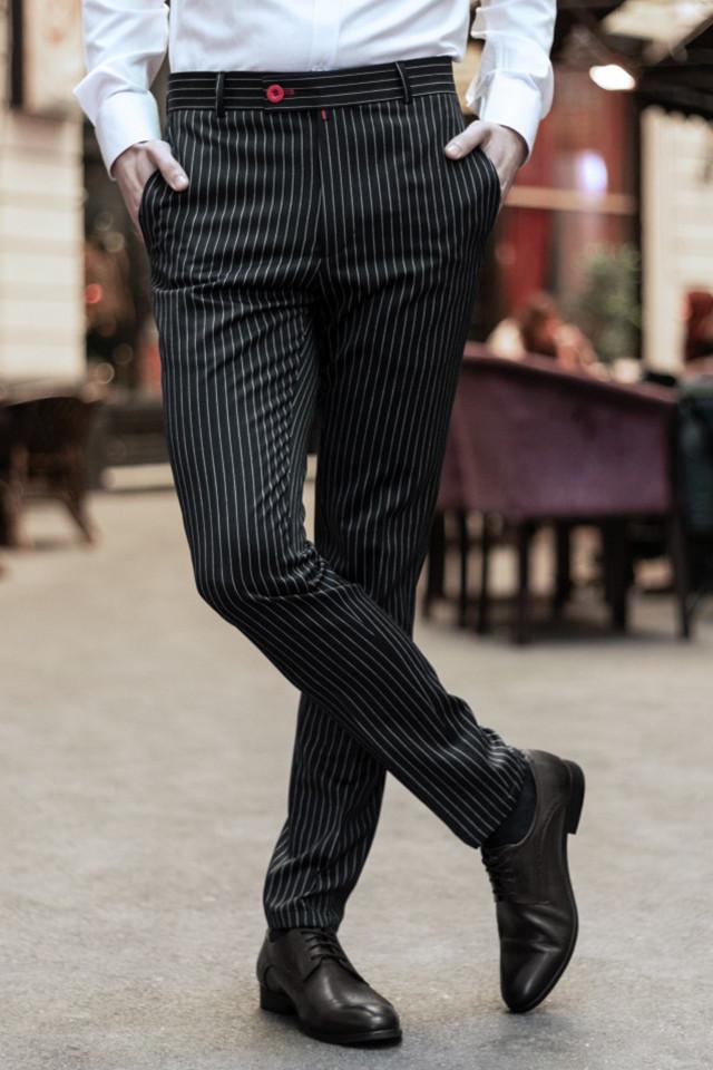 Pantaloni Eleganti Mansfield Negru Stripe