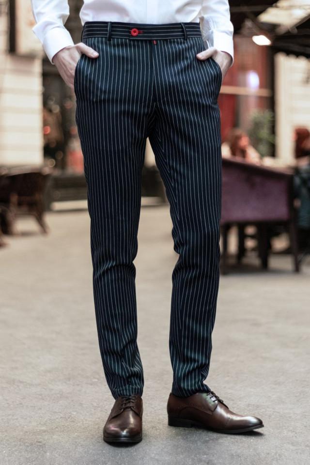 Pantaloni Eleganti Mansfield Bleumarin Stripe
