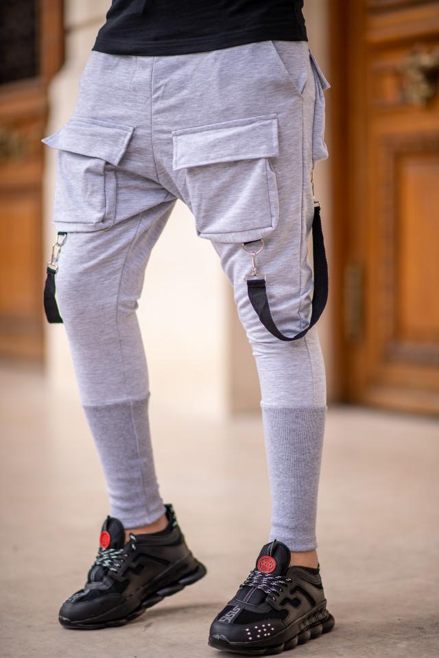 Pantaloni Exclusive cu semi-tur Gri EP11