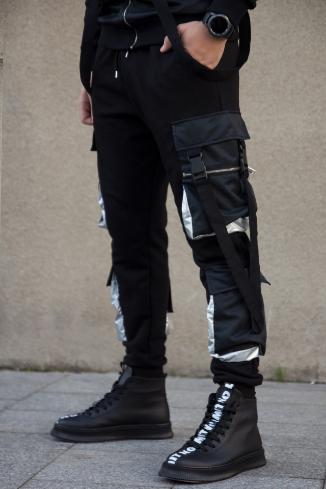 Pantaloni EX Pocket Negru Argintiu