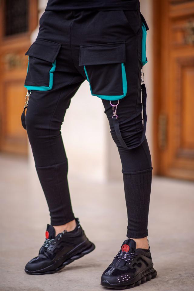 Pantaloni Exclusive cu semi-tur Negru-Turcoaz EP8