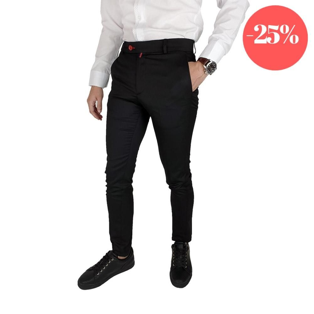 Pantaloni Smart-Casual Slim Negru