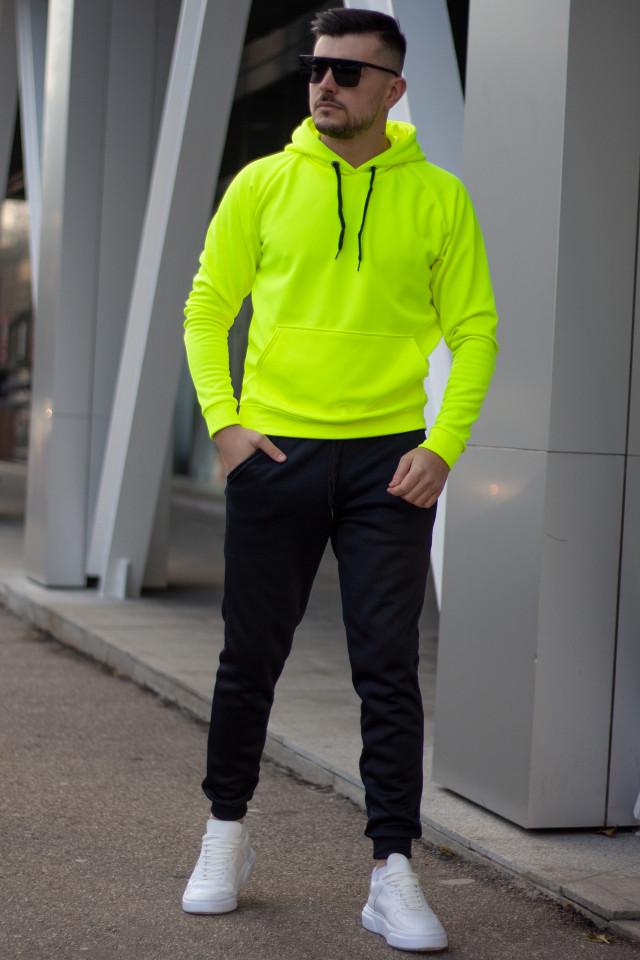 Trening Flausat HOOD EX Galben Neon-Negru