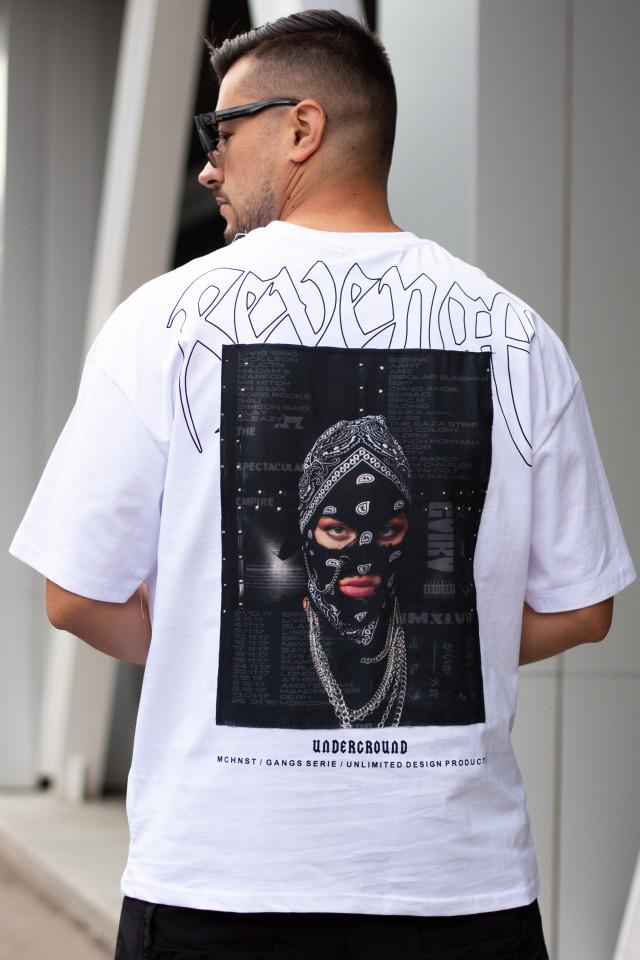 Tricou Oversized Gangs Alb