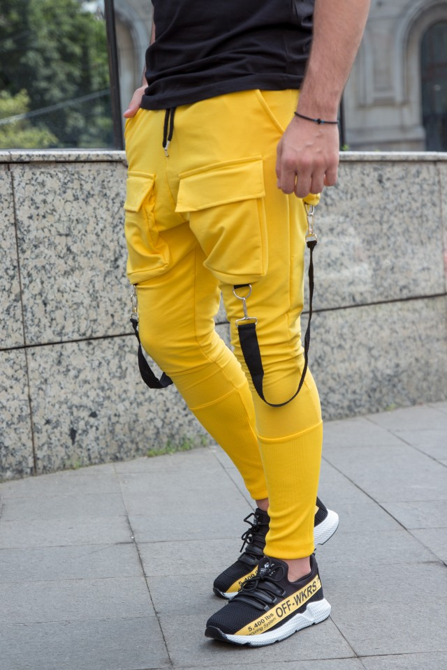 Pantaloni Exclusive cu semi-tur Galben EP3