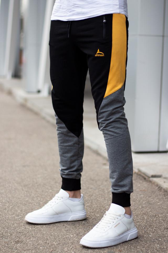 Pantaloni Bumbac ATH Gri Inchis-Galben
