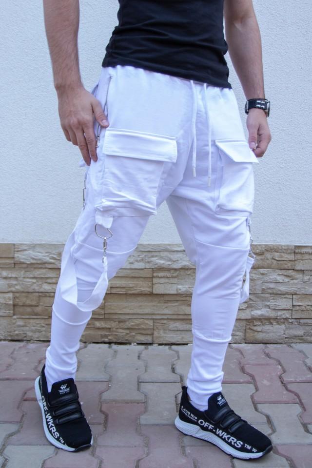 Pantaloni cu semi-tur Alb BK KA2101 Cargo