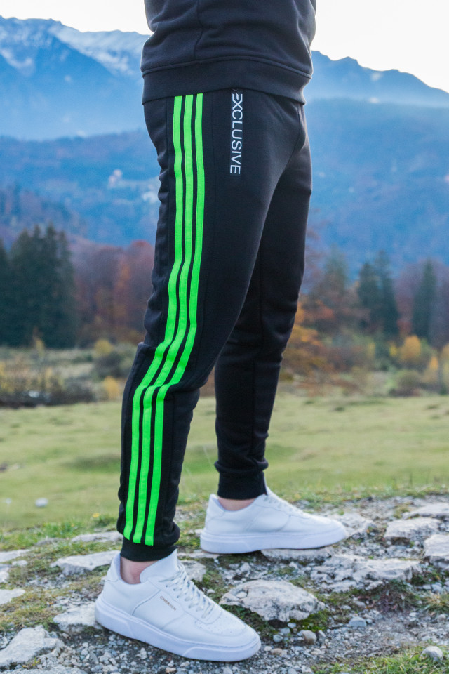 Pantaloni Grosi Bumbac Exclusive Negru Verde