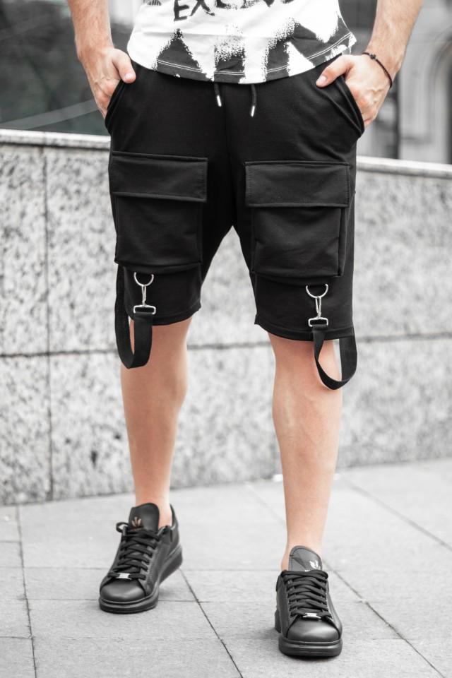 Pantaloni Scurti EX Bretele Negru