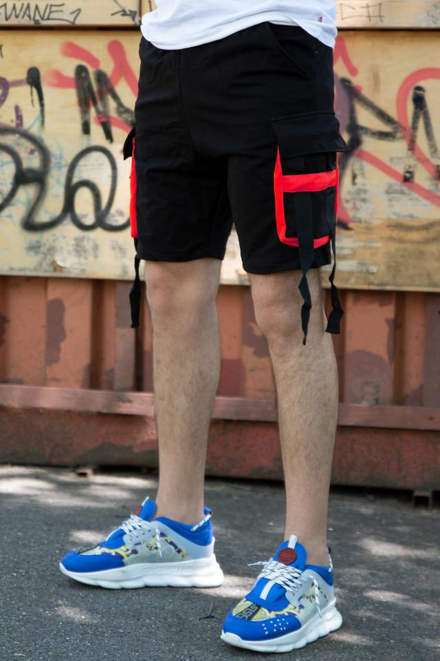 Pantaloni Scurti EX Rebel Negru-Rosu