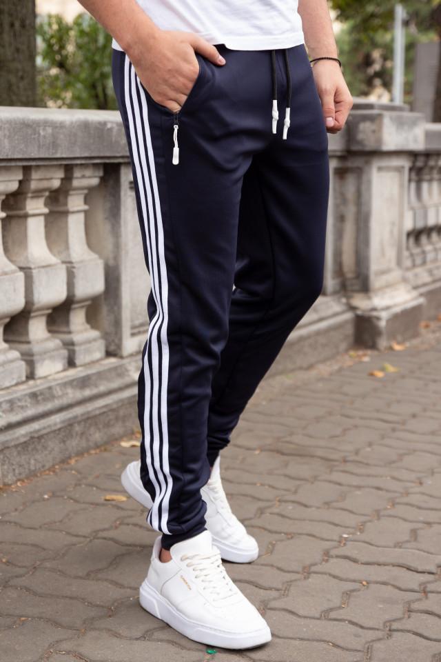 Pantaloni Stripes Bleumarin-Alb